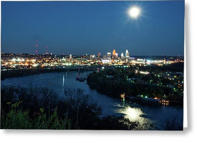 Super Moon Cincinnati River Greeting Card by Randall Branham