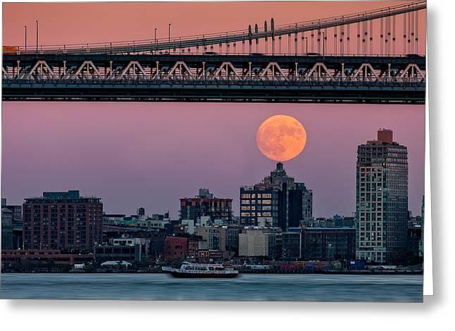 Super Moon Over Manhattan And Brooklyn Bridges Nyc Greeting Card by Susan Candelario