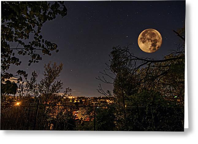 Super Moon Greeting Card by Steve Harrington