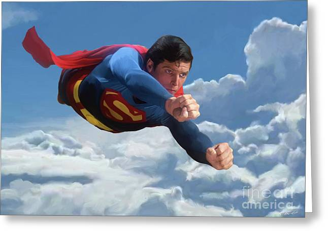 Superman Soaring Greeting Card