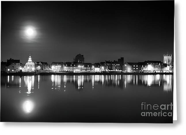 Supermoon Rising Over Norfolk Town Uk Greeting Card
