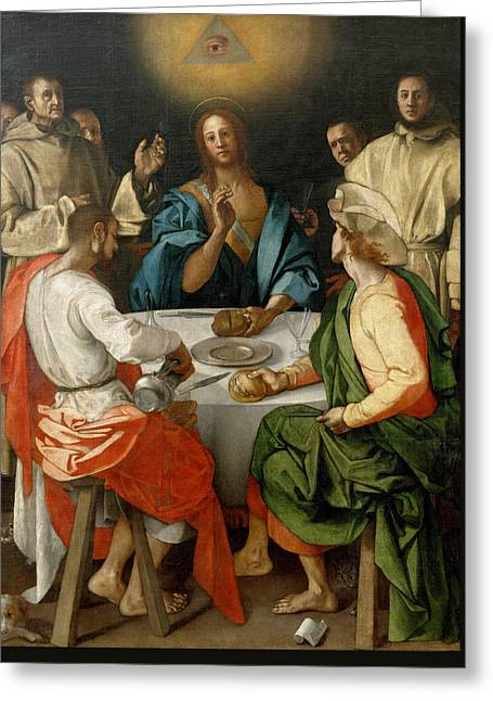 Supper At Emmaus Greeting Card by Jacopo Pontormo