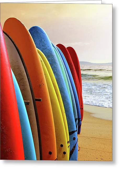 Surf Boards Greeting Card by Carlos Caetano