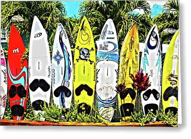 Surfboards In Paia Maui Hawaii Greeting Card