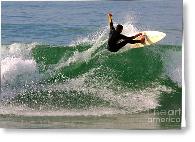 Wet Greeting Cards - Surfer Greeting Card by Carlos Caetano