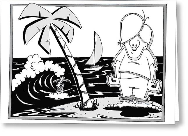 Surfer Toon 4 Greeting Card by Aaron Bodtcher