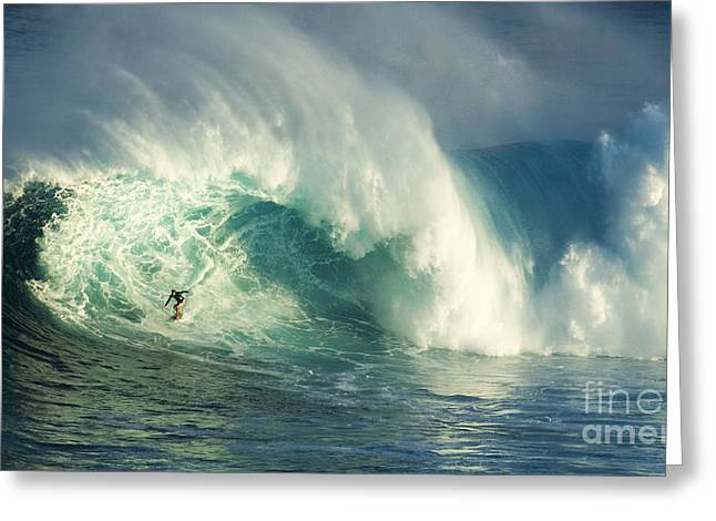 Surfing Jaws Maui Hawaii Greeting Card by Bob Christopher