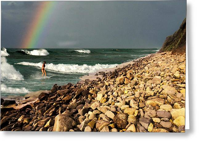 Surfing With Rainbows Greeting Card