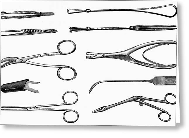 Scissors Greeting Cards - Surgical Instruments Greeting Card by Granger
