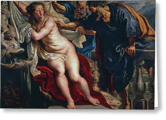 Susanna And The Elders Greeting Card by Peter Paul Rubens