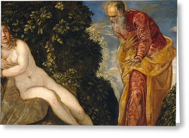Susannah And The Elders Greeting Card by Tintoretto
