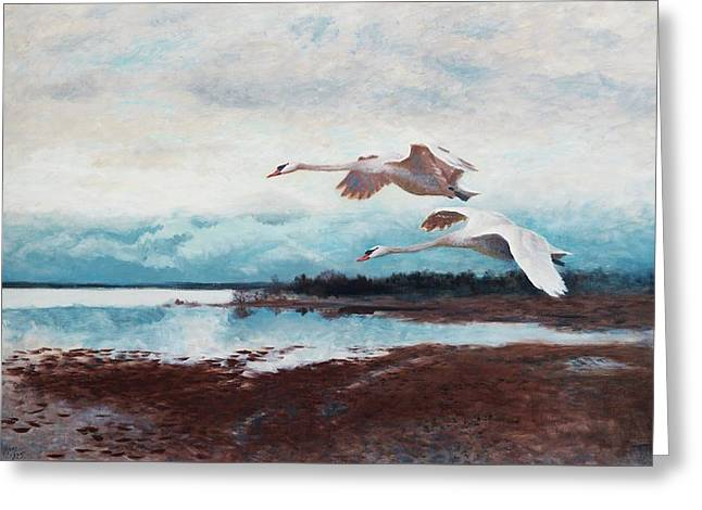 Swans In Flight Greeting Card by MotionAge Designs