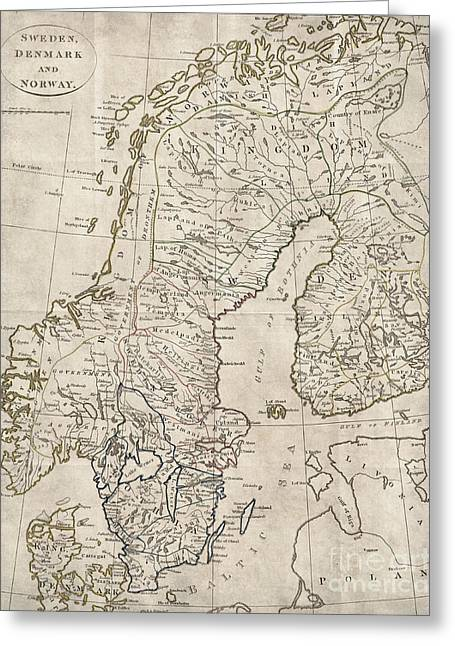 Sweden Norway Denmark Antique Vintage Map Greeting Card by ELITE IMAGE photography By Chad McDermott