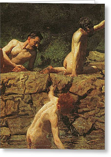 Swimming Hole Greeting Card by Thomas Cowperthwait Eakins