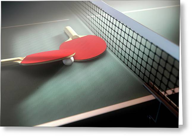 Table Tennis Table And Paddles Greeting Card by Allan Swart