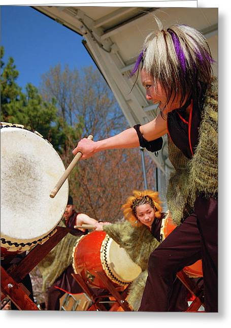 Taiko Drumming Greeting Card by James Kirkikis