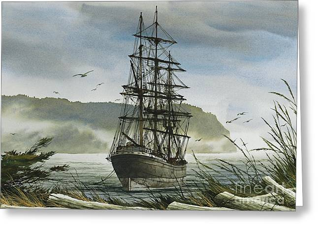 Greeting Card featuring the painting Tall Ship Cove by James Williamson