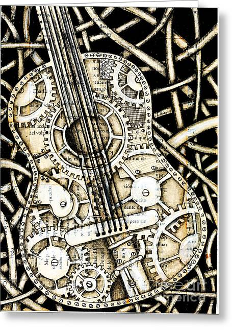Tangle Guitar Greeting Card by Delein Padilla