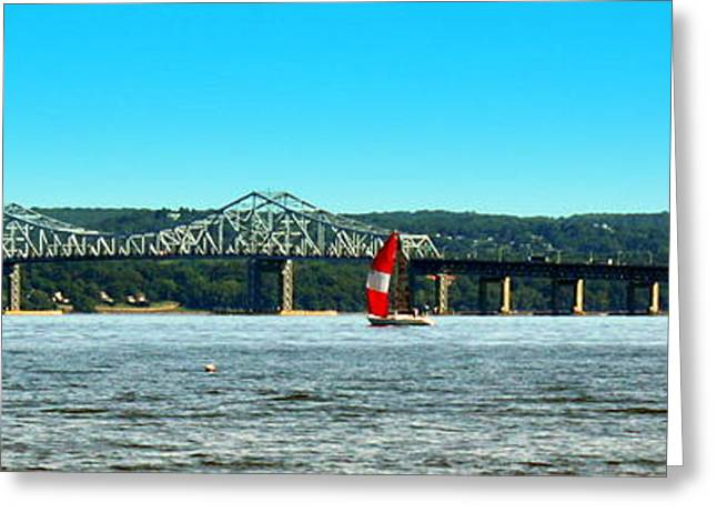 Tappan Zee Bridge Panorama Greeting Card by DazzleMe Photography