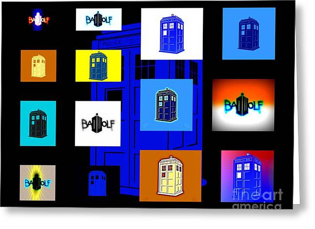 Tardis 7 Greeting Card by Justin Moore