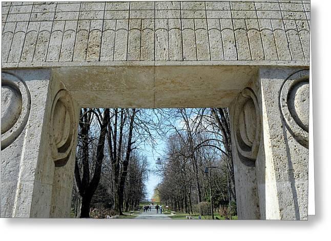 Targu Jiu, Romania  March 15 2017  Gate Of The Kiss. Translation Poarta Sarutului It Is A Stone Scul Greeting Card