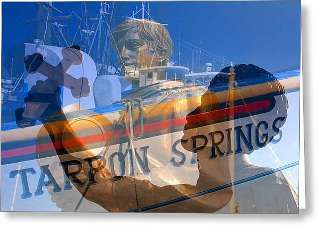 Greeting Card featuring the photograph Tarpon Springs Florida Mash Up by David Lee Thompson