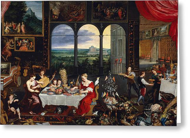 Taste, Hearing And Touch Greeting Card by Jan Brueghel the Elder