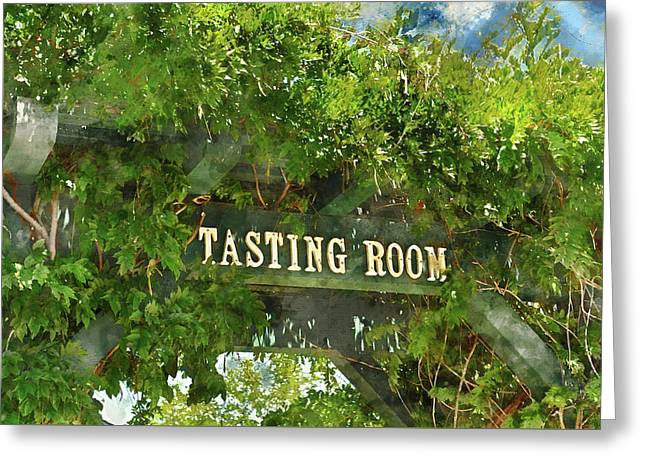 Tasting Room Sign Greeting Card by Brandon Bourdages