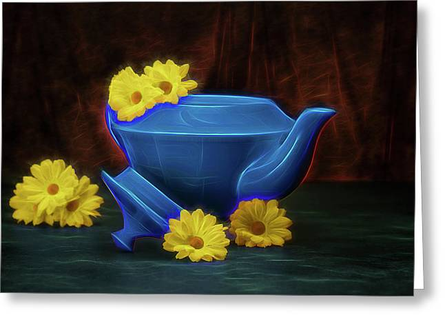 Tea Kettle With Daisies Still Life Greeting Card