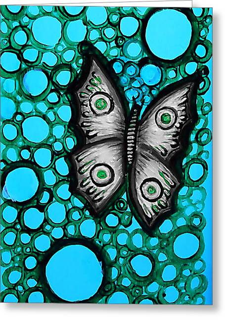 Teal Butterfly Greeting Card by Brenda Higginson