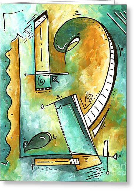 Teal Dreams Fun Funky Original Pop Art Style Abstract Painting By Megan Duncanson Greeting Card by Megan Duncanson