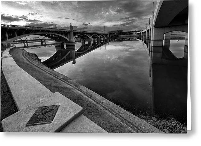 Tempe Town Lake In Black And White Greeting Card by Dave Dilli