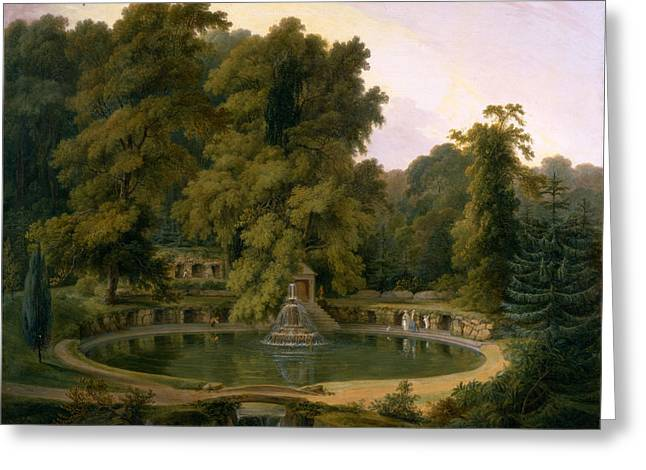 Temple Fountain And Cave In Sezincote Park Greeting Card by Thomas Daniell