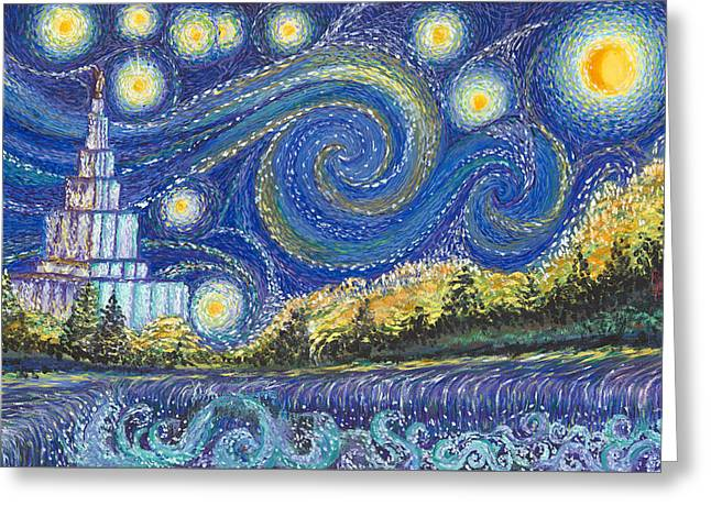 Temple Night Greeting Card by Rachel Roberts
