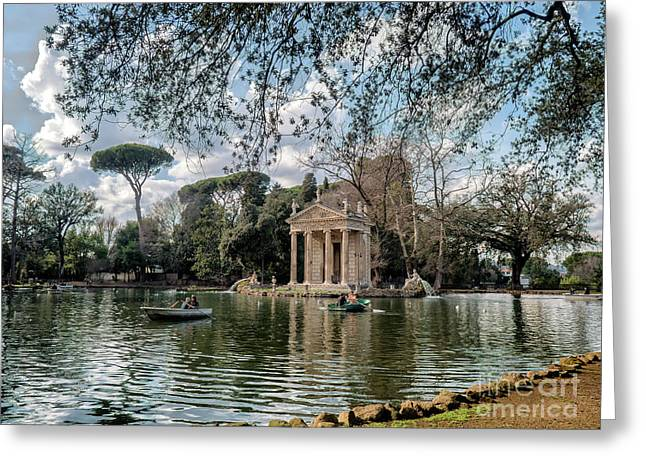 Temple Of Aesculapius In Villa Borghese Gardens, Rome Greeting Card
