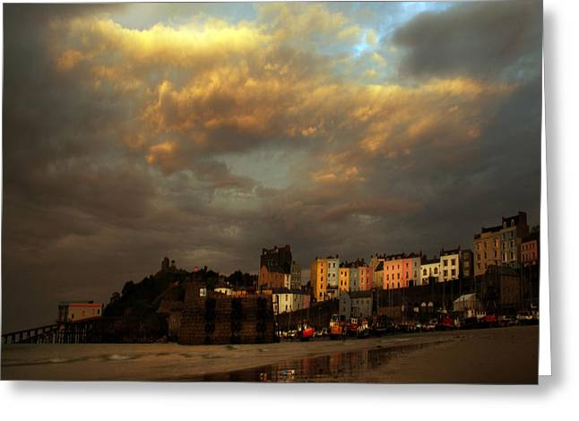 Tenby Greeting Card by Angel Ciesniarska