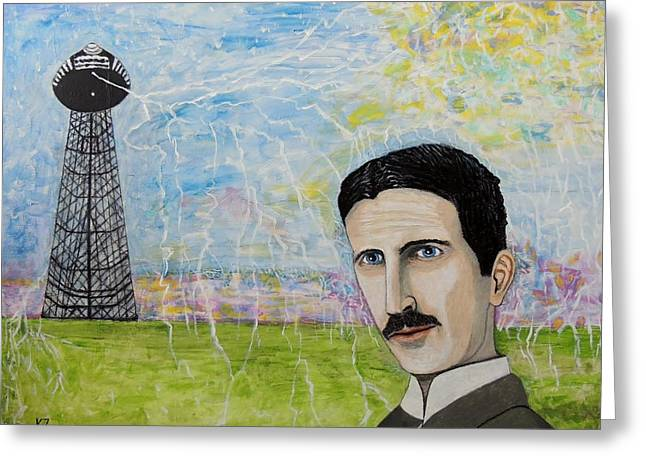 Tesla's Tower. Greeting Card by Ken Zabel