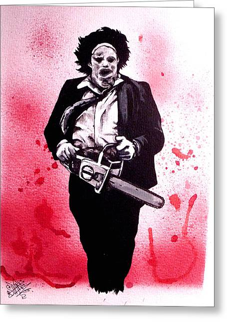 Texas Chainsaw Massacre The Final Scene Greeting Card by Sam Hane
