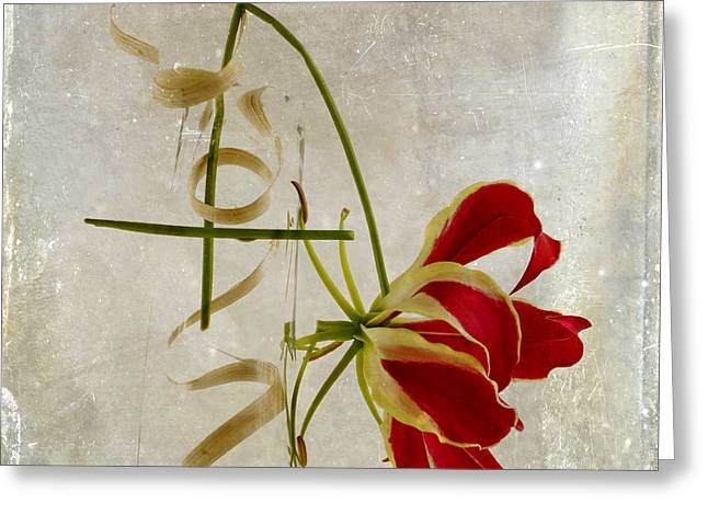 textured Gloriosa Lily. Greeting Card by Bernard Jaubert