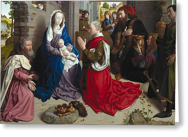 The Adoration Of The Kings Greeting Card by Hugo van der Goes