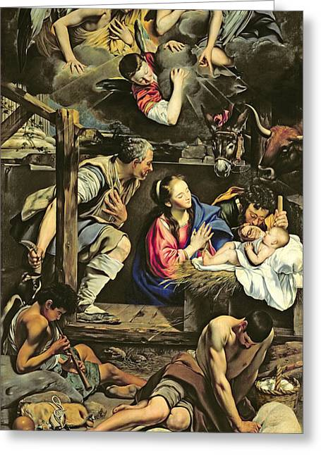 Manger Greeting Cards - The Adoration of the Shepherds Greeting Card by Fray Juan Batista Maino or Mayno
