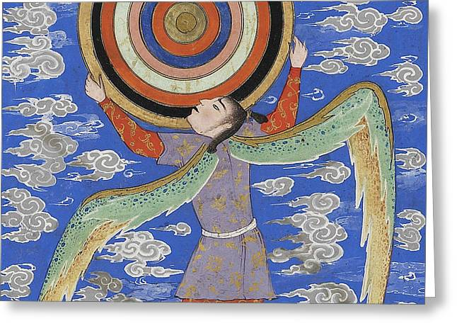 The Angel Ruh Holding The Celestial Spheres Greeting Card