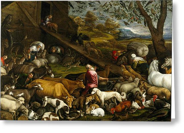 The Animals Entering Noah's Ark Greeting Card by Jacopo Bassano