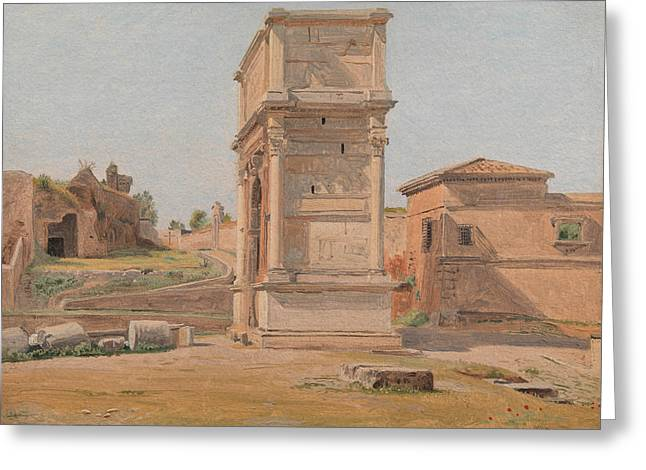 The Arch Of Titus In Rome Greeting Card by Constantin Hansen