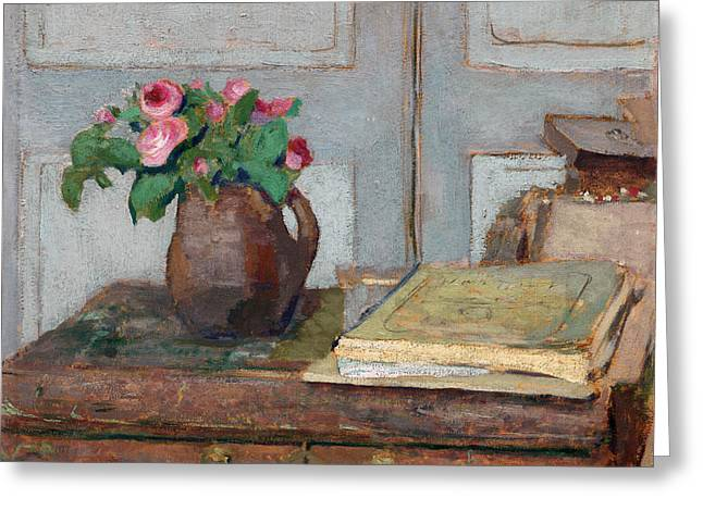 The Artist's Paint Box And Moss Roses Greeting Card