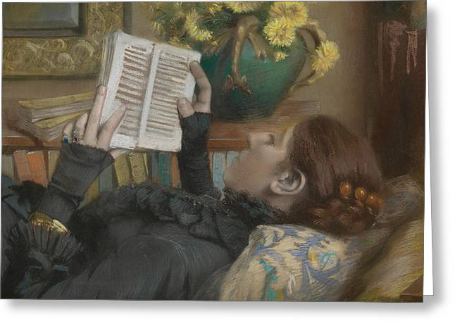 The Artist's Wife Reading Greeting Card by Albert Bartholome
