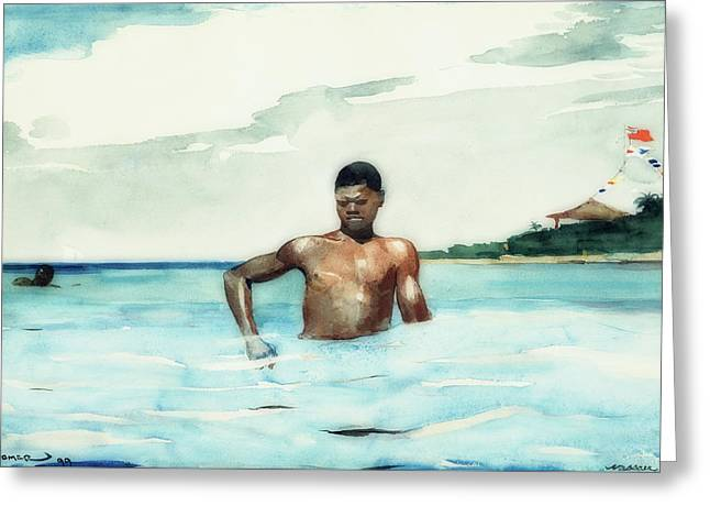 The Bather Greeting Card by Winslow Homer