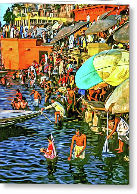 The Bathing Ghats - Paint Greeting Card