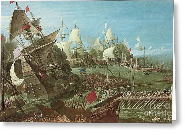 The Battle Of Lepanto Greeting Card by Andries van Eertvelt