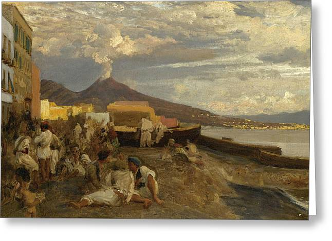 The Bay Of Naples, Vesuvius Beyond Greeting Card by Oswald Achenbach